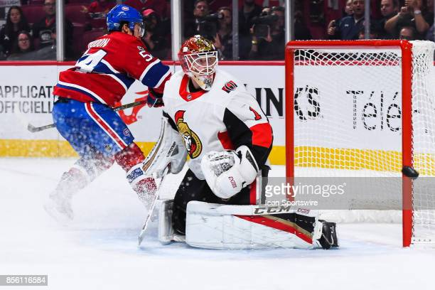 Montreal Canadiens left wing Charles Hudon shot hits the goal post of Ottawa Senators goalie Mike Condon during the Ottawa Senators versus the...