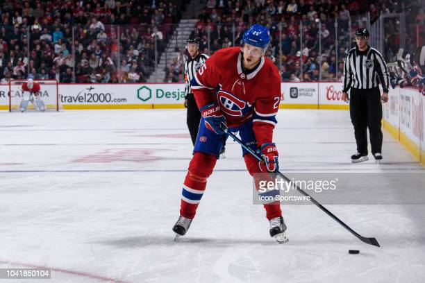 Montreal Canadiens left wing Jacob de la Rose gets ready to take a shot on net during the second period of the NHL preseason game between the Toronto...