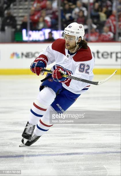 Montreal Canadiens left wing Jonathan Drouin crosses over as he skates across the blue line during the Montreal Canadiens vs. Washington Capitals NHL...
