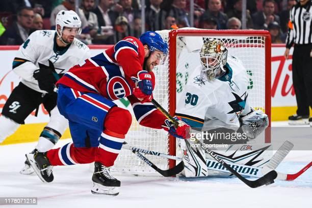 Montreal Canadiens left wing Jonathan Drouin shoots on San Jose Sharks goalie Aaron Dell during the San Jose Sharks versus the Montreal Canadiens...