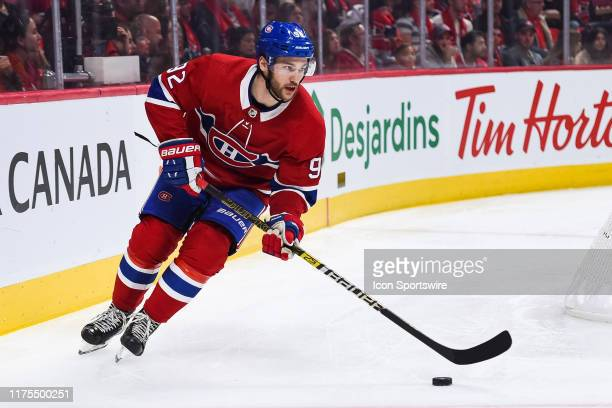 Montreal Canadiens left wing Jonathan Drouin skates out of the far end of his zone with the puck during the St. Louis Blues versus the Montreal...