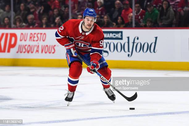 Montreal Canadiens left wing Jonathan Drouin skates towards the blue line with the puck during the Los Angeles Kings versus the Montreal Canadiens...