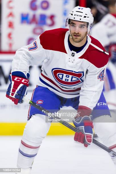 Montreal Canadiens Left Wing Kenny Agostino during warmup before National Hockey League action between the Montreal Canadiens and Ottawa Senators on...