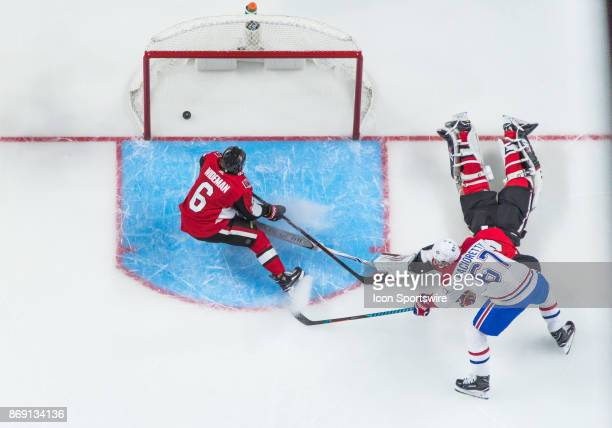 Montreal Canadiens Left Wing Max Pacioretty scores the Canadiens second goal in the first period against Ottawa Senators Goalie Craig Anderson as...