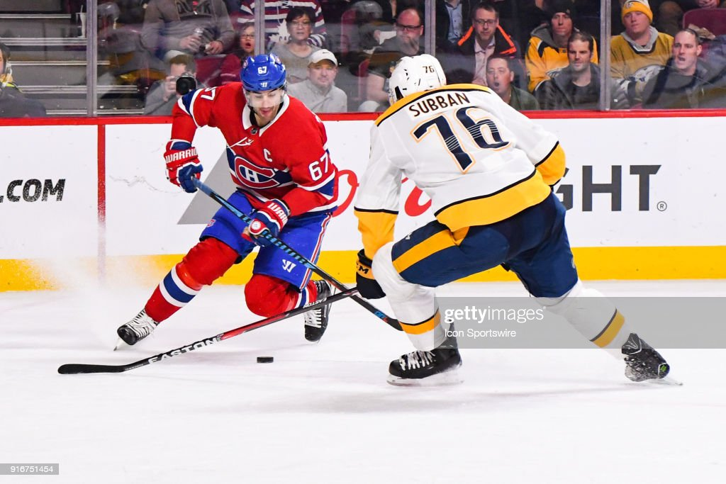 Montreal Canadiens Left Wing Max Pacioretty (67) shoots the puck during the Nashville Predators versus the Montreal Canadiens game on February 10, 2018, at Bell Centre in Montreal, QC