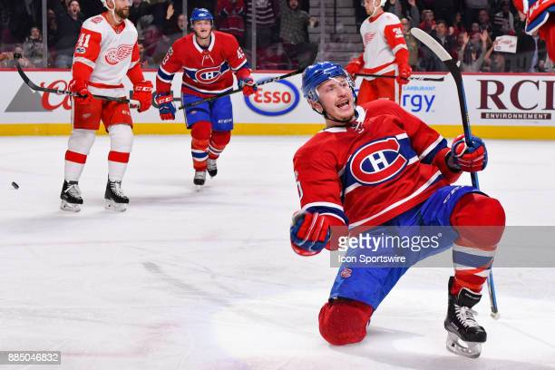 Montreal Canadiens Left Wing Nicolas Deslauriers celebrates his goal with Montreal Canadiens Defenceman Victor Mete making the score 21 Canadiens...
