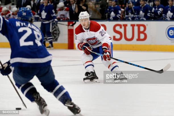 Montreal Canadiens Left Wing Nicolas Deslauriers is ready for Toronto Maple Leafs Right Wing William Nylander as he carry's the puck towards the blue...