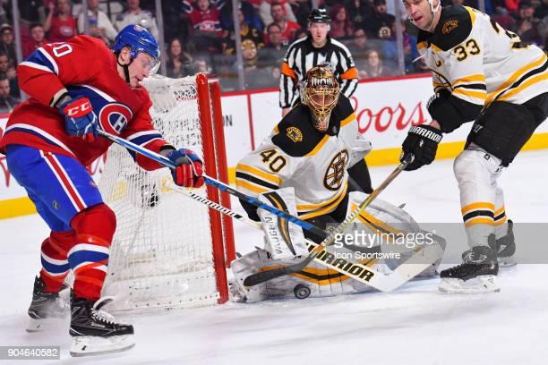 Montreal Canadiens Left Wing Nicolas Deslauriers shoots on Boston Bruins Goalie Tuukka Rask during the Boston Bruins versus the Montreal Canadiens...
