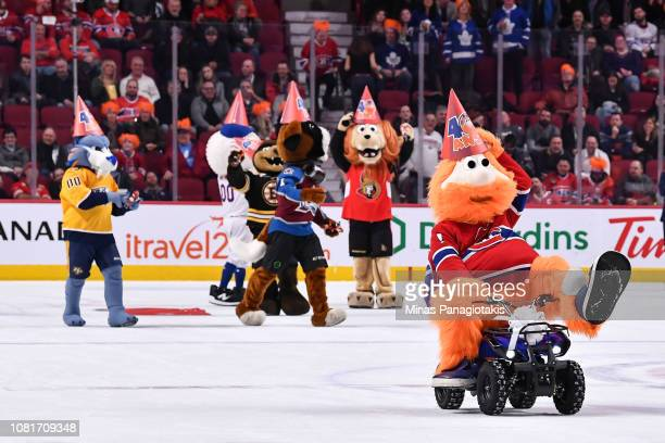 Montreal Canadiens' mascot Youppi celebrates his 40th birthday on ice with fellow mascots from around the sports world during the NHL game between...