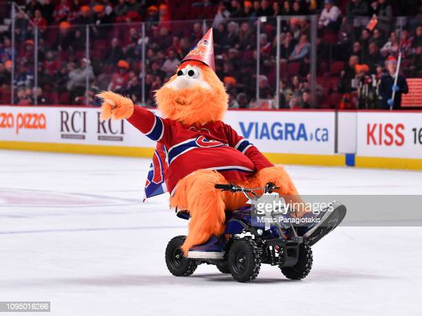 Montreal Canadiens' mascot Youppi celebrates his 40th birthday on ice during the NHL game between the Montreal Canadiens and the Colorado Avalanche...