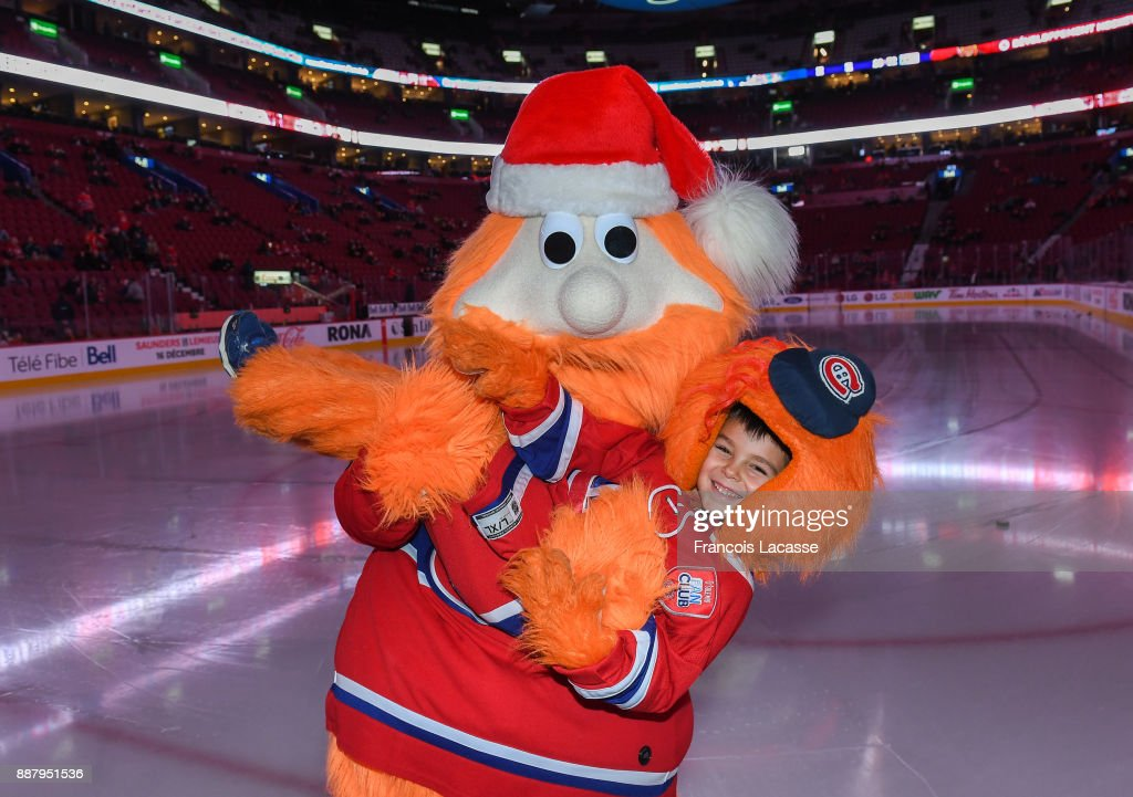 Montreal Canadiens mascot Yuppie and mini Yuppie prior to the NHL game against the Calgary Flames at the Bell Centre on December 7, 2017 in Montreal, Quebec, Canada.