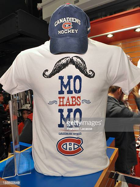 Montreal Canadiens Movember merchandise is displayed prior to the NHL game between the Montreal Canadiens and the New York Rangers on November 19...