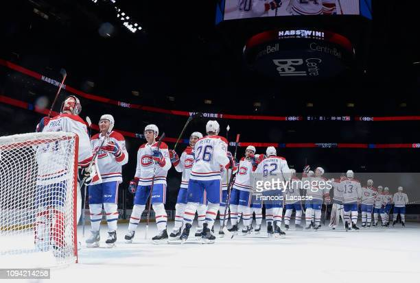 Montreal Canadiens' players celebrate after defeating the Anaheim Ducks in the NHL game at the Bell Centre on February 5 2019 in Montreal Quebec...