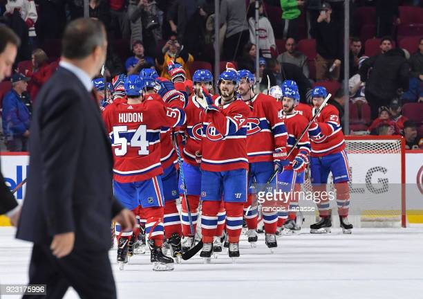 Montreal Canadiens' players celebrate after defeating the New York Rangers in the NHL game at the Bell Centre on February 22 2018 in Montreal Quebec...