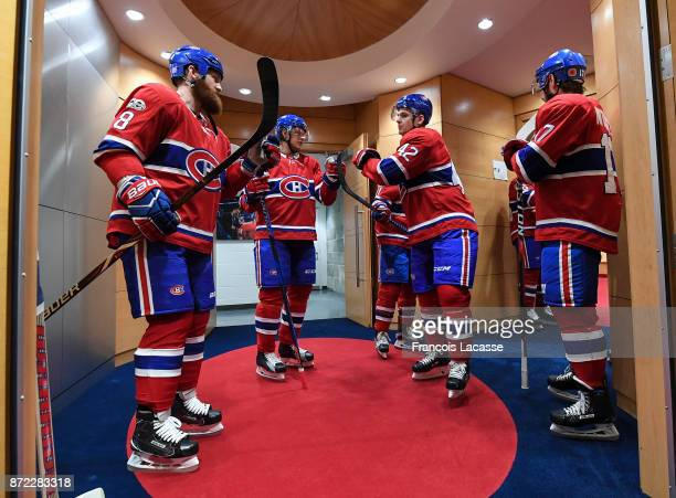 Montreal Canadiens players prior to the game against the Minnesota Wild in the NHL game at the Bell Centre on November 9 2017 in Montreal Quebec...