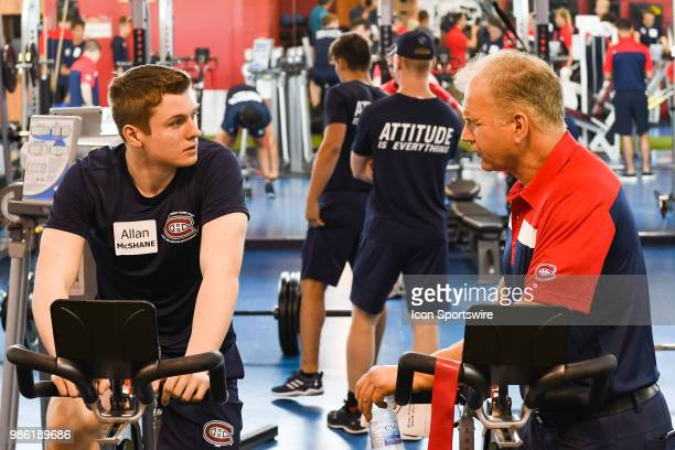 Montreal Canadiens Prospect Centre Allan McShane has a discussion with coach Rob Ramage during the Montreal Canadiens Development Camp on June 28 at...