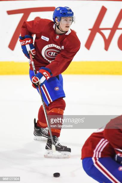 Montreal Canadiens Prospect Centre Allan McShane skates with the puck during the Montreal Canadiens Development Camp on June 30 at Bell Sports...