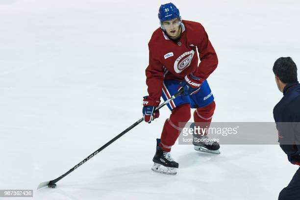 Montreal Canadiens Prospect Right Wing Anthony Rinaldi performs a drill with the puck during the Montreal Canadiens Development Camp on June 29 at...