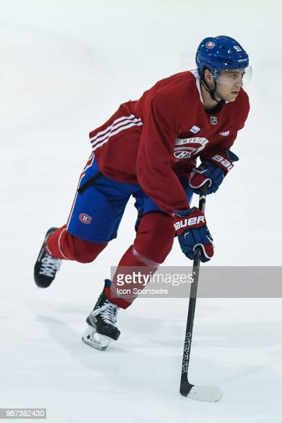 Montreal Canadiens Prospect Right Wing Anthony Rinaldi skates backwards during the Montreal Canadiens Development Camp on June 29 at Bell Sports...