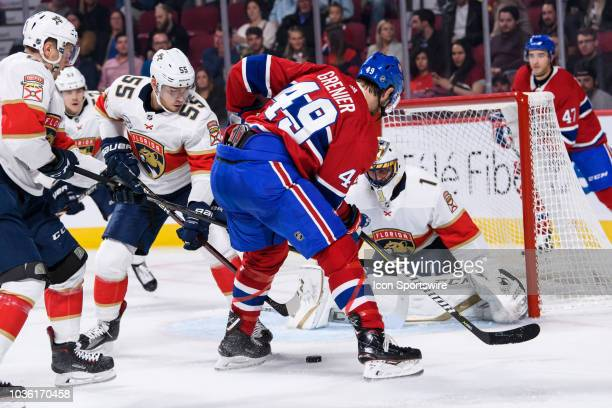 Montreal Canadiens right wing Alexandre Grenier looses possession of the puck in front of Florida Panthers goaltender Roberto Luongo net during the...