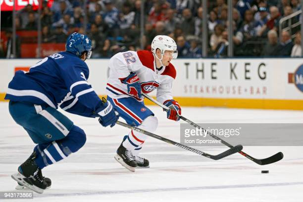 Montreal Canadiens Right Wing Artturi Lehkonen is pursued by Toronto Maple Leafs Defenceman Ron Hainsey during the final NHL 2018 regularseason game...