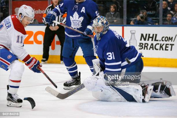 Montreal Canadiens Right Wing Brendan Gallagher breaks his stick after shooting on goal as Toronto Maple Leafs Goalie Frederik Andersen follows the...