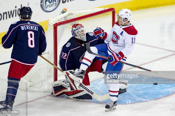 Montreal Canadiens right wing Brendan Gallagher celebrates after scoring a goal in the first period of a game between the Columbus Blue Jackets and...