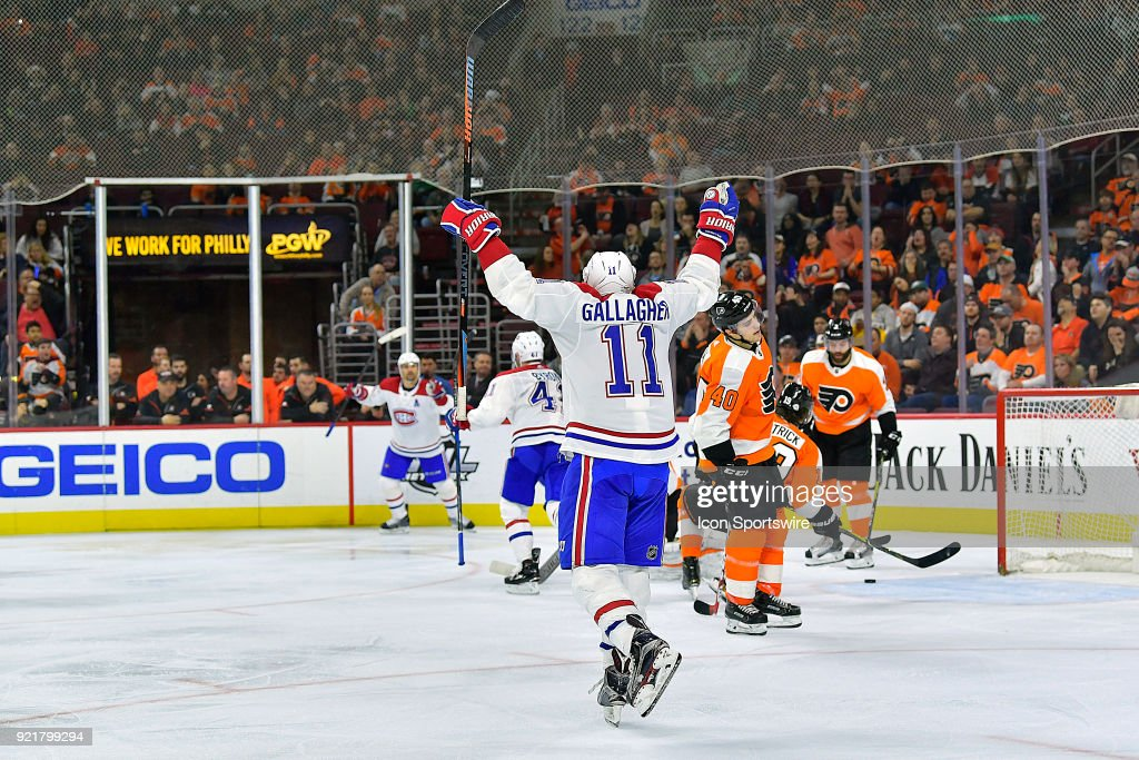 Montreal Canadiens right wing Brendan Gallagher (11) celebrates the Montreal Canadiens goal during the NHL game between the Montreal Canadiens and the Philadelphia Flyers on February 20, 2018 at the Wells Fargo Center in Philadelphia PA.