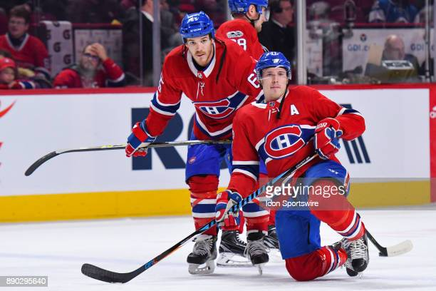 Montreal Canadiens Right Wing Brendan Gallagher kneeling down on the ice with Montreal Canadiens Winger Andrew Shaw beside him at warm up before the...