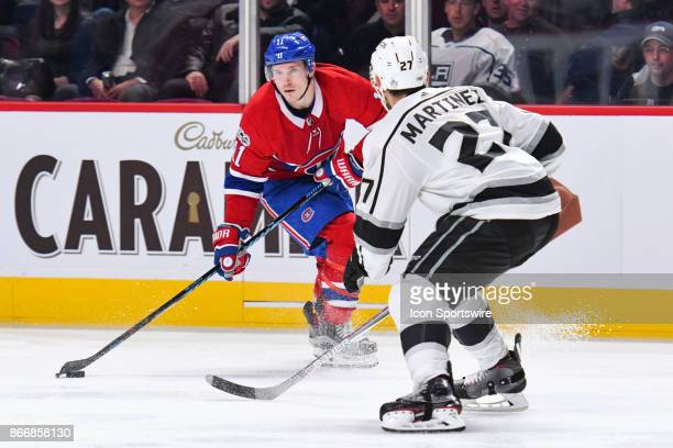 Montreal Canadiens right wing Brendan Gallagher looks for a target for a pass during the Los Angeles Kings versus the Montreal Canadiens game on...
