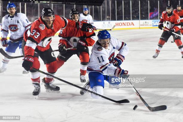 Montreal Canadiens Right Wing Brendan Gallagher tries to reach for a rebound during the Montreal Canadiens versus the Ottawa Senators NHL100 Classic...