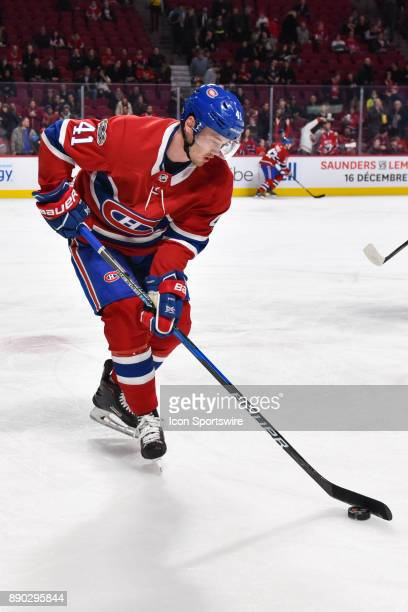 Montreal Canadiens Right Wing Paul Byron plays with the puck at warm up before the Calgary Flames versus the Montreal Canadiens game on December 7 at...