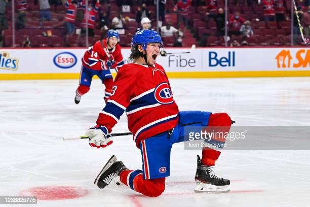 Montreal Canadiens right wing Tyler Toffoli shows pride after scoring his game winning goal during the NHL Stanley Cup Playoffs second round game 4...