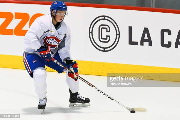 Montreal Canadiens Rookie center James McEwan skating with the puck in an exercise during the Montreal Canadiens Development Camp on July 3 at Bell...
