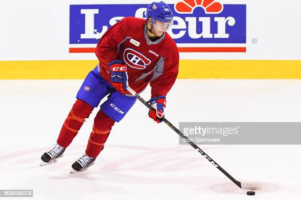 Montreal Canadiens Rookie center Ryan Poehling skating at warmup before a simulated game at the Montreal Canadiens Development Camp on July 5 at Bell...