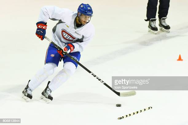 Montreal Canadiens Rookie center Ryan Poehling skating with the puck in an exercise during the Montreal Canadiens Development Camp on July 3 at Bell...