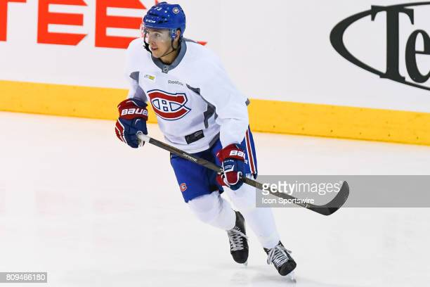 Montreal Canadiens Rookie center Scott Conway skating at warmup before a simulated game at the Montreal Canadiens Development Camp on July 5 at Bell...