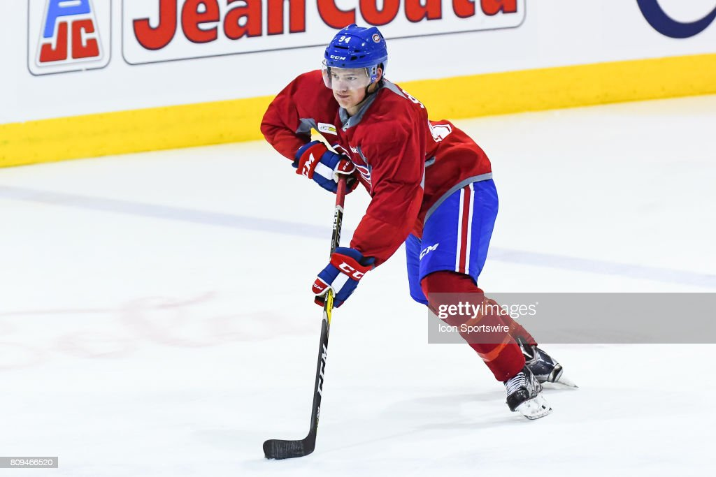 Montreal Canadiens Rookie defenseman James Schuldt (94) skating with the puck during the Montreal Canadiens Development Camp on July 4, 2017, at Bell Sports Complex in Brossard, QC