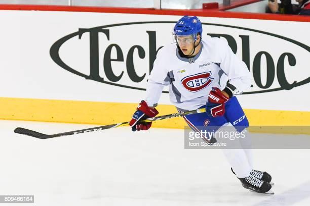 Montreal Canadiens Rookie defenseman Nikolas Koberstein skating at warmup before a simulated game at the Montreal Canadiens Development Camp on July...