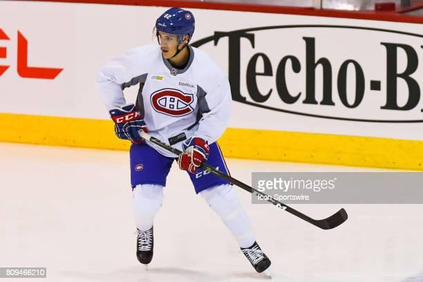 Montreal Canadiens Rookie defenseman Thomas Parisi skating at warmup before a simulated game at the Montreal Canadiens Development Camp on July 5 at...