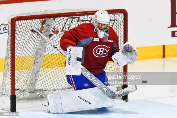Montreal Canadiens Rookie goalie Cayden Primeau taking shots during the Montreal Canadiens Development Camp on July 4 at Bell Sports Complex in...