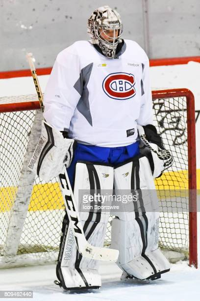 Montreal Canadiens Rookie goalie Hayden Hawkey standing in front of his net during a simulated game at the Montreal Canadiens Development Camp on...