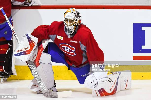 Montreal Canadiens Rookie goalie Michael McNiven stretching before a simulated game at the Montreal Canadiens Development Camp on July 5 at Bell...