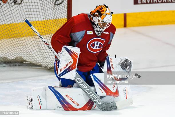 Montreal Canadiens Rookie goalie Michael McNiven taking shots during the Montreal Canadiens Development Camp on July 3 at Bell Sports Complex in...