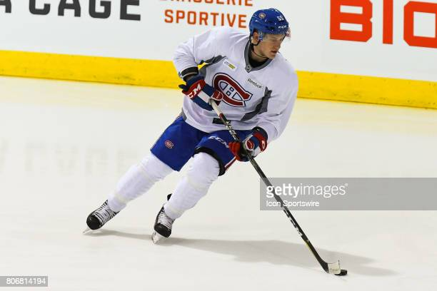 Montreal Canadiens Rookie left wing Michael Pezzetta skating with the puck in an exercise during the Montreal Canadiens Development Camp on July 3 at...