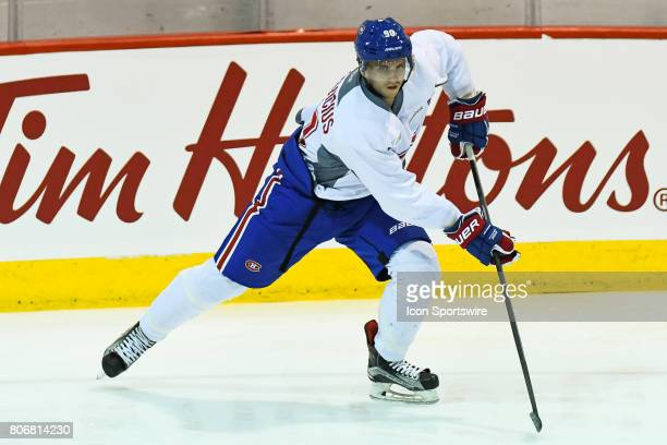 Montreal Canadiens Rookie right wing Jarid Lukosevicius skating with the puck in an exercise during the Montreal Canadiens Development Camp on July 3...