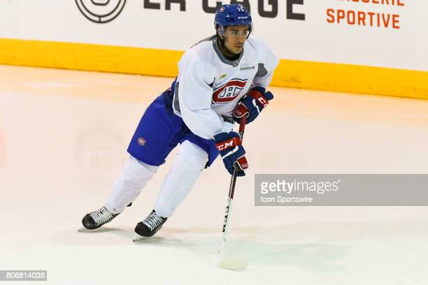 Montreal Canadiens Rookie right wing Maxime Fortier skating with the puck in an exercise during the Montreal Canadiens Development Camp on July 3 at...