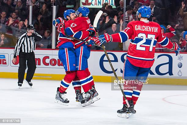 Montreal Canadiens teammates celebrating Montreal Canadiens Defenceman Shea Weber goal during the Toronto Maple Leafs versus the Montreal Canadiens...