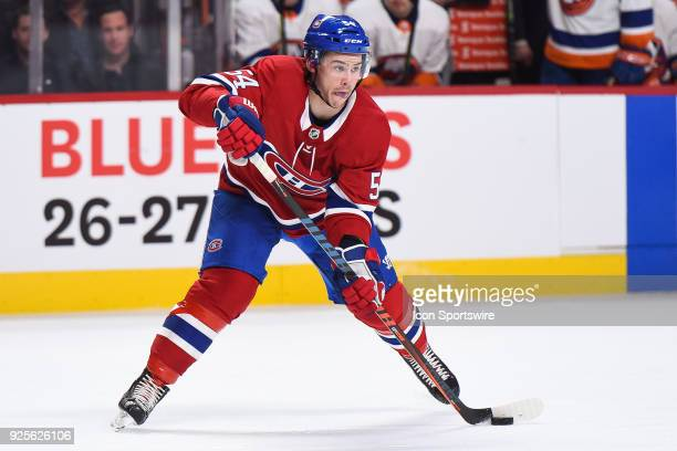 Montreal Canadiens Winger Charles Hudon passes the puck during the New York Islanders versus the Montreal Canadiens game on February 28 at Bell...