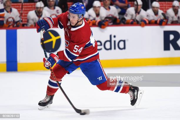 Montreal Canadiens Winger Charles Hudon shoots the puck during the New York Islanders versus the Montreal Canadiens game on February 28 at Bell...